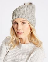 Marks and Spencer Cable Knit Pom Hat