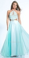 Dave and Johnny Open Back Beaded Keyhole Prom Dress