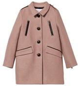 Burberry Pink Wool Zip Detail Coat