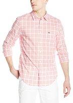 Lacoste Men's Long Sleeve Poplin Check Regular Fit Point Collar Woven Shirt