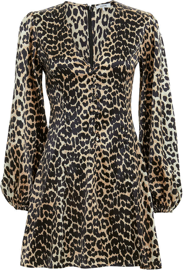 Ganni Leopard Mini Dress