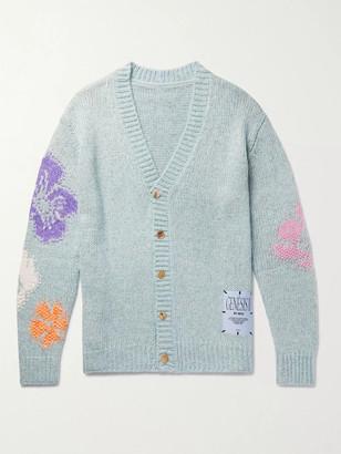 McQ Oversized Appliqued Intarsia-Knit Cardigan - Men - Blue