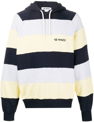 Sunnei Logo-Embroidered Striped Hoodie
