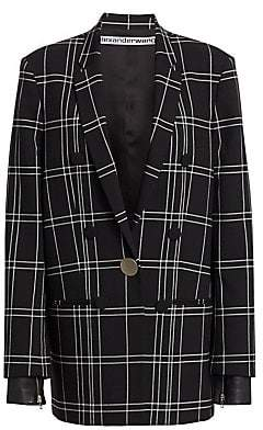 Alexander Wang Women's Plaid Single-Breasted Peak Lapel Jacket - Size 0