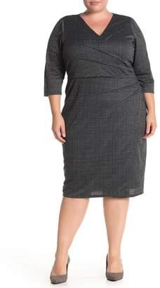 London Times Side Pleated Ponte Dress (Plus Size)