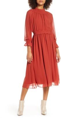 Chelsea28 Smocked Neck Long Sleeve Chiffon Midi Dress