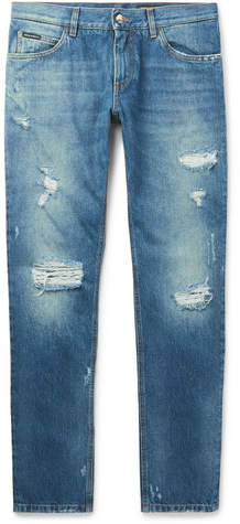 Dolce & Gabbana Slim-fit Distressed Denim Jeans