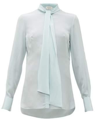 Alexander McQueen Pussy-bow Silk Crepe De Chine Blouse - Womens - Light Blue