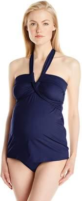 Prego Maternity Women's Maternity Halter Wrap Tankini Swimsuit