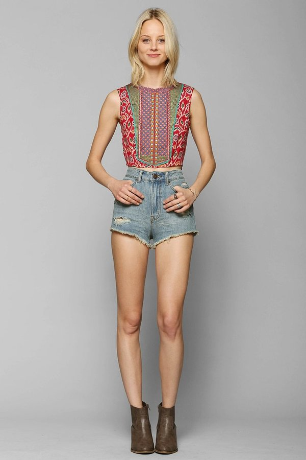 Urban Outfitters Staring At Stars Ikat Embroidered-Bib Tank Top