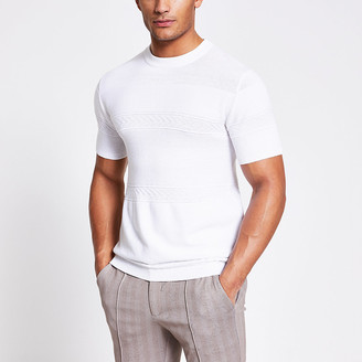 River Island Maison Riviera white slim fit knit T-shirt