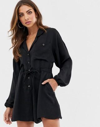 Asos Design DESIGN button front slouchy tie waist boiler playsuit-Black