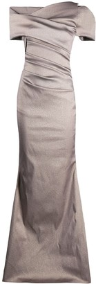 Talbot Runhof One-Shoulder Metallic Dress