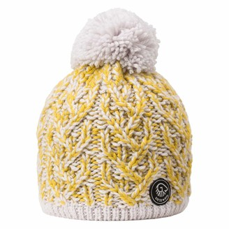 Giesswein Pom-pom Beanie Himmelhorn Yellow ONE - Soft Knitted hat for Ladies with Merino Wool Fluffy Bobble Warm Lining of Fleece Inside Beanies for The Winter