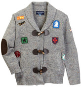 Andy & Evan Grey Patches Toggle Button Cardigan Sweater (Toddler & Little Boys)