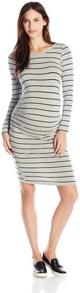 Everly Grey Women's Maternity Hanh Long Sleeve Side Shirred Dress