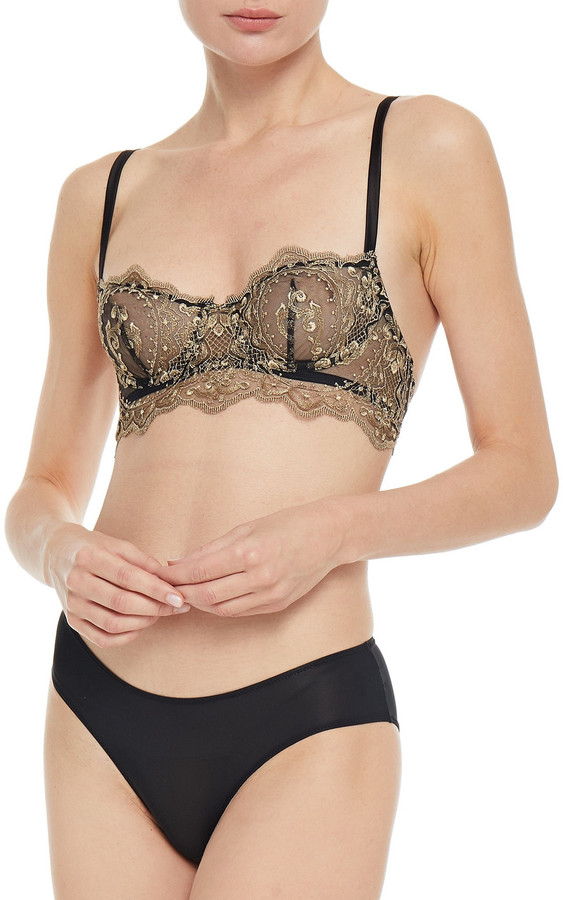 Thumbnail for your product : I.D. Sarrieri Embroidered Stretch-tulle Underwired Balconette Bra