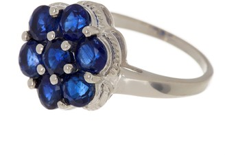 Forever Creations Usa Inc. Sterling Silver Blue Sapphire Flower Ring