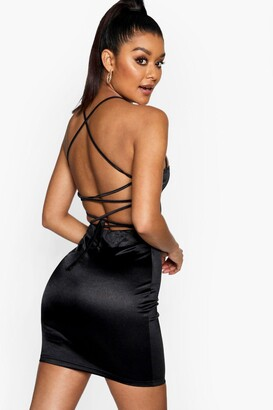 boohoo Satin Square Neck Strappy Back Bodycon Dress