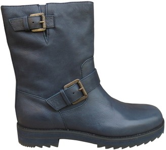 Jil Sander Anthracite Leather Ankle boots