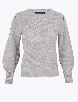 M&S CollectionMarks and Spencer Textured Round Neck Long Sleeve Jumper