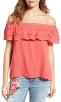 Sanctuary Misha Eyelet Embroidered Off the Shoulder Top