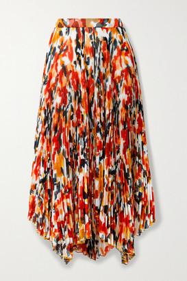 Proenza Schouler Asymmetric Pleated Floral-print Chiffon Midi Skirt - Red