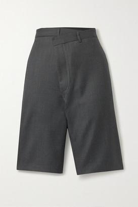 R 13 Crossover Asymmetric Wool Shorts - Gray