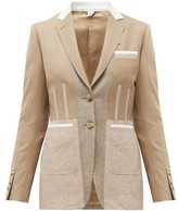 Burberry Single-breasted Panelled Wool-blend Jacket - Womens - Beige