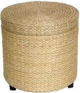 Oriental Furniture Natural Rush Grass Storage Ottoman