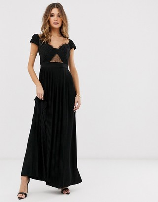 Bardot Asos Design ASOS DESIGN Premium lace and pleat maxi dress-Black