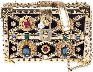Dolce & Gabbana Metallic Gold Crystal Embellished Leather and Velvet Box Pad lock Shoulder Bag