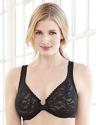Glamorise Women's Full Figure Wonderwire Front Close Stretch Lace Bra #9245