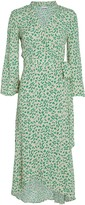 Ganni Floral Crepe Wrap Dress