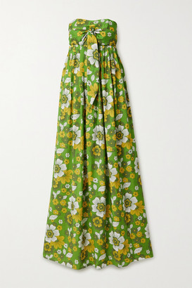 Dodo Bar Or Zaza Strapless Floral-print Crinkled-voile Maxi Dress - Green