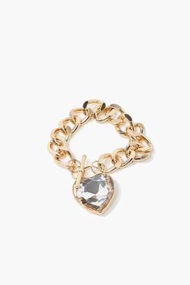 Forever 21 Faux Gem Heart Pendant Bracelet