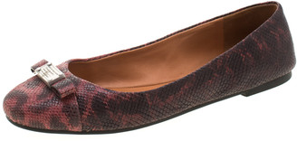 Marc by Marc Jacobs Burgundy Embossed Lizard Leather Tuxedo Logo Ballet Flats Size 38.5