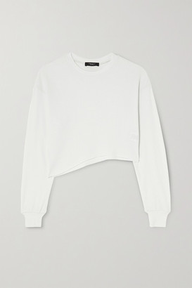 Twenty Montreal Everest Thermal Cropped Asymmetric Waffle-knit Jersey Top - White