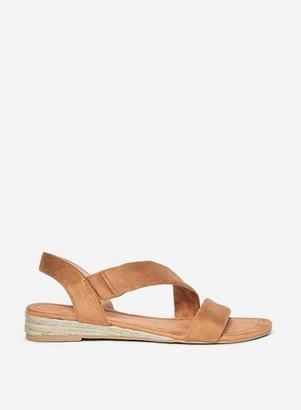 Dorothy Perkins Womens Wide Fit Tan 'Reemy' Asymmetric Wedge Sandals