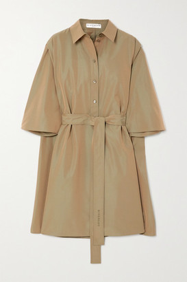 Givenchy Cape-effect Belted Cotton-poplin Mini Shirt Dress - Army green