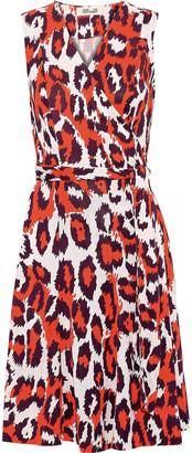 Diane von Furstenberg Jasmine Printed Silk-jersey Mini Wrap Dress