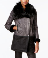 T Tahari Faux-Fur-Trim Colorblocked Faux-Shearling Coat