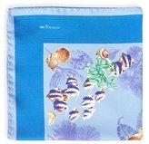 Kiton Tropical Fish Silk Pocket Square, Blue