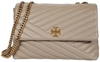 Tory Burch Kira Chevron Convertible Shoulder Bag (Black) Handbags