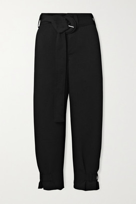 Proenza Schouler White Label - Belted Woven Tapered Pants - Black