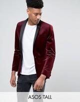 Asos TALL Skinny Blazer in Velvet in Burgundy