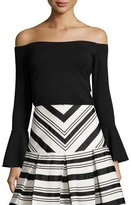 Alexis Lindes Off-The-Shoulder Bell-Sleeve Top, Black