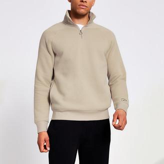 River Island Prolific stone half zip slim sweatshirt