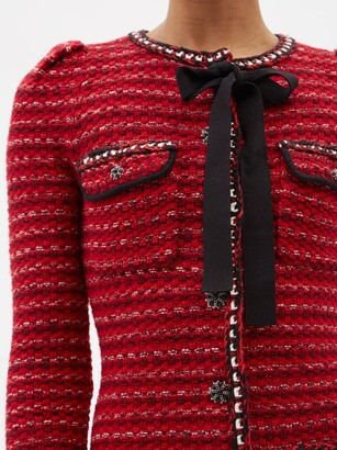 Self-Portrait Tweed-effect Wool-blend Knitted Mini Dress - Red Multi