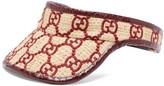 Gucci Logo-embroidered Raffia And Watersnake Visor - Womens - Burgundy